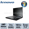 "Portable Lenovo Thinkpad X100E AMD Athlon Neo MU-400 Dual core 1.6Ghz - 2Go DDR3 - 160Go - 11.6"" - Webcam - Win 7 familiale"
