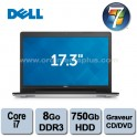 "Portable Dell Inspiron 5748 Intel Core I7-4210U  2.0Ghz - 8Go DDR3 - 750GO - Graveur DVD/CD - 17"" - Webcam - HDMI - Win 7 Pro"