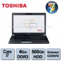Portable Toshiba Tecra R940 Intel Core I7-3520M 2.9Ghz - 4Go DDR3 - 500GO - Graveur DVD/CD - 14.1'' - Webcam - HDMI - Win 7 Pro