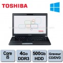 Portable Toshiba Protege R930 Intel Core I5-3320M 2.6Ghz - 4Go DDR3 - 500GO - Graveur DVD - 13'' - Webcam - HDMI - Win 8.1 pro