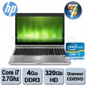 "Portable HP Elitebook 8560p Core i7 2620m (2ème géné) - 2.7Ghz - 4Go DDR3 - 320GO - Graveur DVD - 15.6"" - Webcam -  Win 7 Pro"