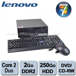 Ordinateur Lenovo Thinkcentre M57 USFF Core 2 Duo 2.33Ghz -2Go DDR2 - 250Go SATA - Combo DVD Graveur- Win 7 Familial